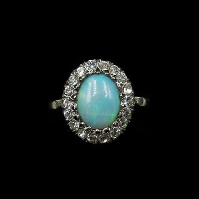 Antique Victorian Opal and Paste Oval Cluster Halo 9ct 9K Gold and Silver Ring
