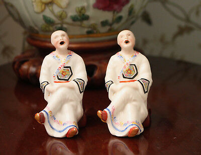 A Wonderful Pair of Antique Chinese Figural Incense Burners as Seated Monks