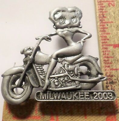 Harley 100th Betty Boop pin 2003 HD collectible cartoon character biker pinback