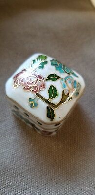 Vintage Chinese Cloisonne White Square Pill Box