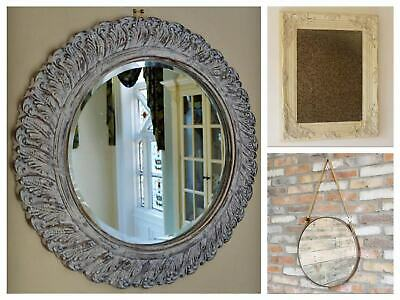Vintage Wall Mounted Glass Mirror Hanging Bevelled Round Shabby Metal Frame 31cm