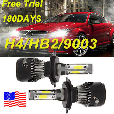 2 ×H4 9003 LED Car Headlight Kit Hi/Lo Beam 8000LM 72W Super Bright 6000K White