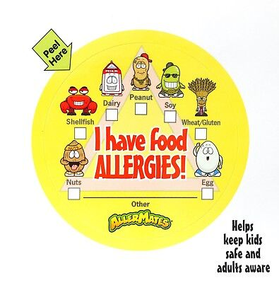 Allermates - Allergy Stickers to Notify Teachers/Day Care/Anywhere! - NEW