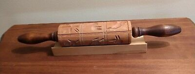 """Springerle Wooden Rolling Pin Cookie Candy Mold 6"""" Barrel 12 Pictures STAND"""