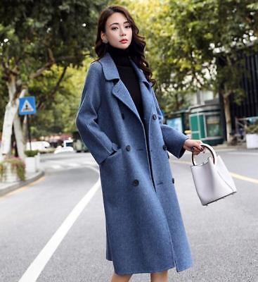 Womens Cashmere Double-breasted Wool Coats Overcoat Chic Korean Lapel Jackets
