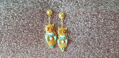 Vintage Chinese Silver Gold Plated Drop Owl Earrings inlaid w/Coral,Turquoise