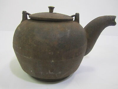 Antique Large Cast Iron Kettle Teapot From Wood Burning Stove Swing Handle Lid