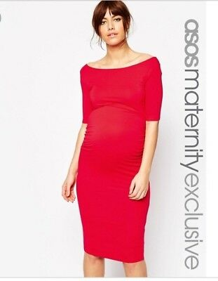 New Asos Maternity Bardot Red Dress Size 8