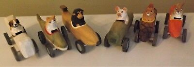 6 Hand Carved Wooden Soapbox Derby Cars With Animals, Monkey, Pig, Rabbit, More