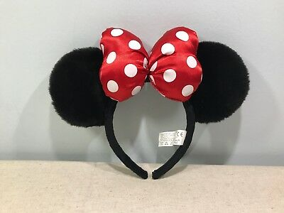 Minnie Mouse Plush Headband Ears Disneyland Resort Paris Classic Red Spotted Bow