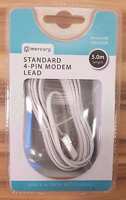 MERCURY RJ11 to BT Cable Lead Modem FAX Telephone Phone Plug BT Socket 4 Pin