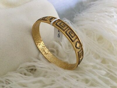 Julie Vos Greek Key Mix Metal Quatrefoil Bangle Gold Plate Small NWT MSRP - $110