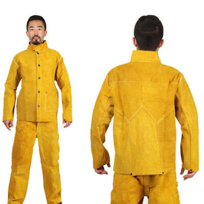 Electric Yellow Flame-Resistant Heavy Duty Leather Welding Jacket
