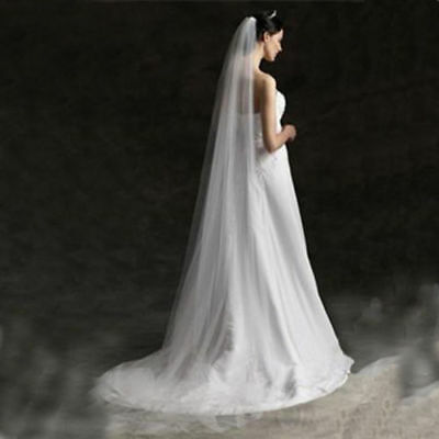 New White/Ivory 1T Floor Length Wedding Bridal Veil with Comb Veil for Brides