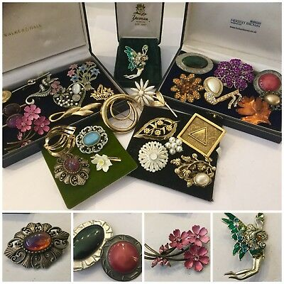 Large Job Lot Vintage Jewellery Brooches , Ruskin,Art Nouveau Fairy Nymph x 30