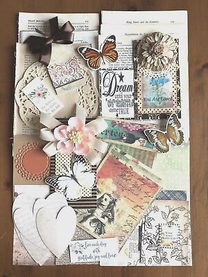 Alice In Wonderland Inspired Junk Journal Kit 100 Plus Items, Papers, Pictures