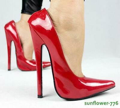 Womens 18CM High Heel Patent Leather Nightclub Pointed Toe Sexy Pump Shoes 36-46