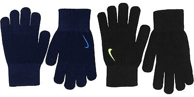 Nike Junior Swoosh Knit Gloves NEW Age 7-14 Youth Kids Boys Girls Navy Black
