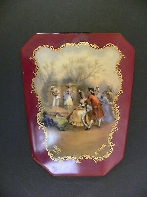 A Signed 1927 French Miniature Painting Of Dancing Couples On Porcelain Plaque
