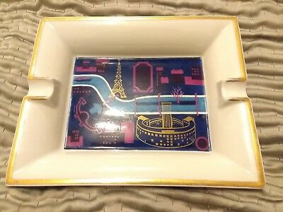 HERMES PARIS France Designer Porcelain Cigarette Ashtray Vintage Edite l'ORTF