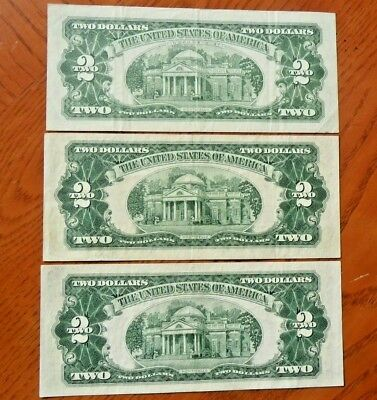Lot of (3) RED SEAL $2 Two Dollars United States Notes - 1953B, 1953C & 1963