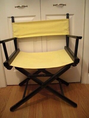 Vtg Midcentury Gold Medal Wood Folding Director Chair Yellow Fabric Seat/back
