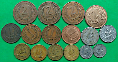 Lot of 16 Different British East Caribbean Territories Coins 1955-1965   !!