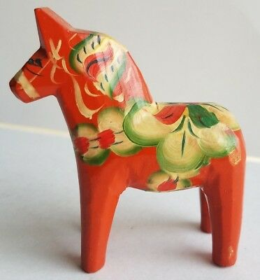Dala Horse Swedish Vintage Hand Carved Wooden Figurine Hand Painted Scandanavia