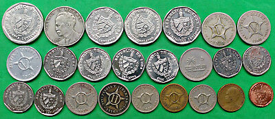 Nice Lot of 24 Different Spanish American Islands Coins 1915-2016 !!