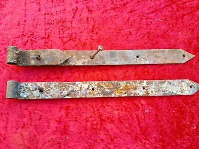 Barn Salvage Pair Antique Blacksmith Made Iron Hinges 24 Inches