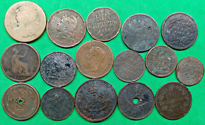 Lot of 16 Foreign Old World Copper & Brass Coins 1700's & 1800's Just For Fun !