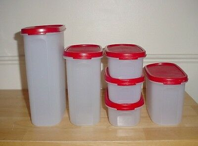 6 Tupperware Modular Mates Oval Storage Containers Red Lids