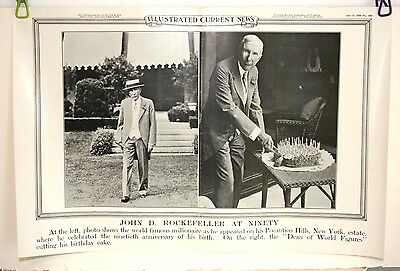 Illustrated Current News Photo John D Rockefeller At 90 Oil Tycoon   1929