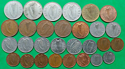 Lot of 29 Different Old Irish Coins 1969-1998 Vintage Decimal Ireland !!