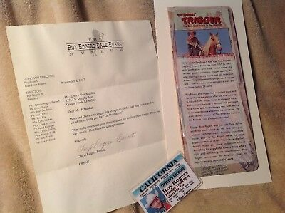 Roy Rogers Collector Memorabilia./.museum Letter,. Driver Licence,.ad.