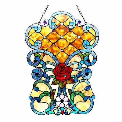 Stained Glass Victorian Window Panel 16 Wide x 24 Tall ~LAST ONE THIS PRICE~