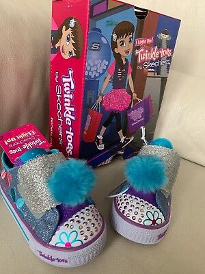 f33bc41c5a0b  49 Skechers Twinkle Toes Girls 6 Daisy Days Lights Up Blue Pink Sparkly  Shoes