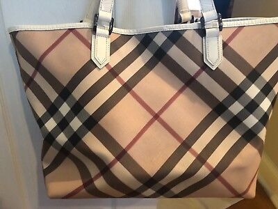 73a319c8a2d1 BURBERRY Iconic Nova Check Classic White Patent Leather Carry All Tote Bag