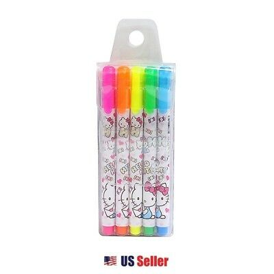 SANRIO Hello Kitty Character Super Cute Neon 5 Color Highlighter Set - New