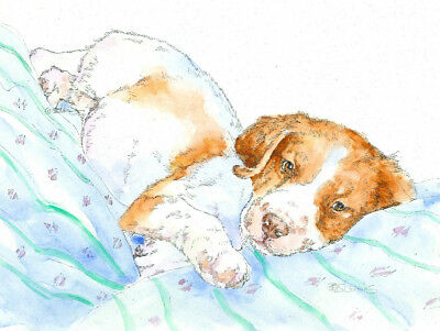 BRITTANY NAP Original Watercolor on Ink Print Matted 11x14 Ready to Frame