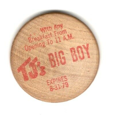 Advertising Wooden Nickle   Tj's Big Boy  10 Cent Coffee