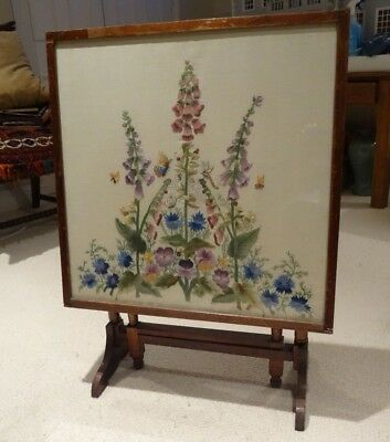 Antique Embroidered Panel Fire Screen and Tilt Top Games Table