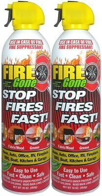 Fire Gone 2NBFG2704 White/Red Suppressant Canisters - 16 Ounce, (Pack of 2...