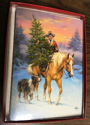 New Leanin' Tree Boxed Christmas Cards Boy Horse Dog Tree w/Design Envelopes NR
