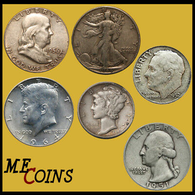 $1.00 Face Value 90% Silver Mixed Old US Coins Half Dollar Included Bullion Lot