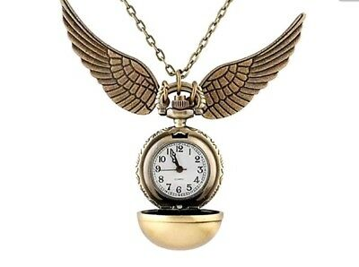 Harry Potter Golden Snitch Pocket Watch Necklace Quidditch Pendant