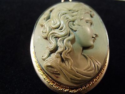 Beautiful Antique Victorian Oval Lava Cameo Broach Pin Jewelry Circa 1850's