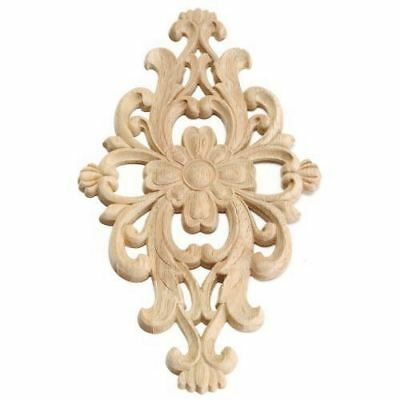 1X(28×15cm Wood Carved Round Unpainted Onlay Applique Furniture Home Decor T2E2