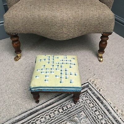 Vintage Wooden Footstool with Tapestry Top and Turned Legs - 24 x 22.5 x 19cm