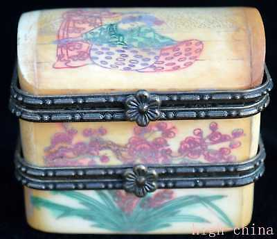 Collectable Chinese Paint Belle Flower Ancinet Maid Of Honor Souvenir Jewel Box